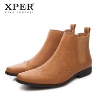 2018 XPER Fashion Spring Winter Men Chelsea Boots Slip On Dress Shoes Dancing Footwear Pointed Toe Motorcycle Boots #XHY030/031