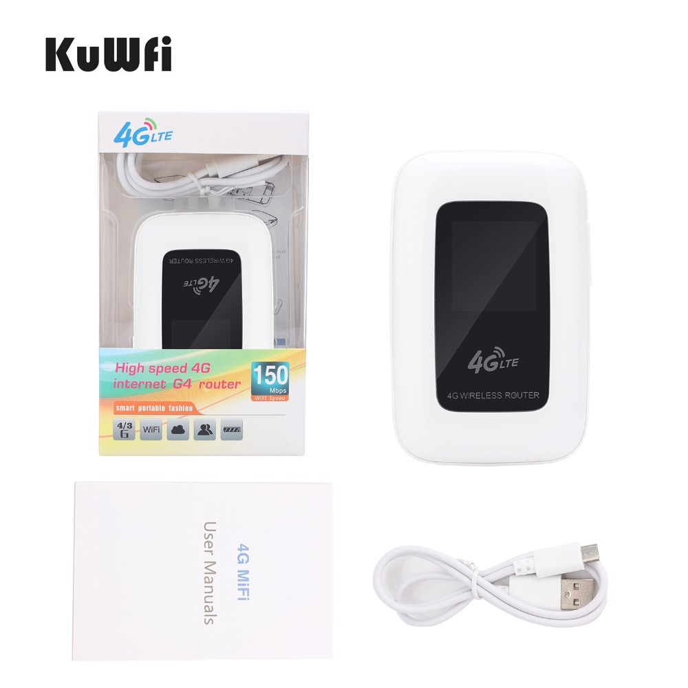Image 5 - KuWfi 4G LTE Wifi Router Portable 150Mbps WIFI Mobile Hotspot 4G Travel Router Car Router&Modem With SIM Card slot-in 3G/4G Routers from Computer & Office