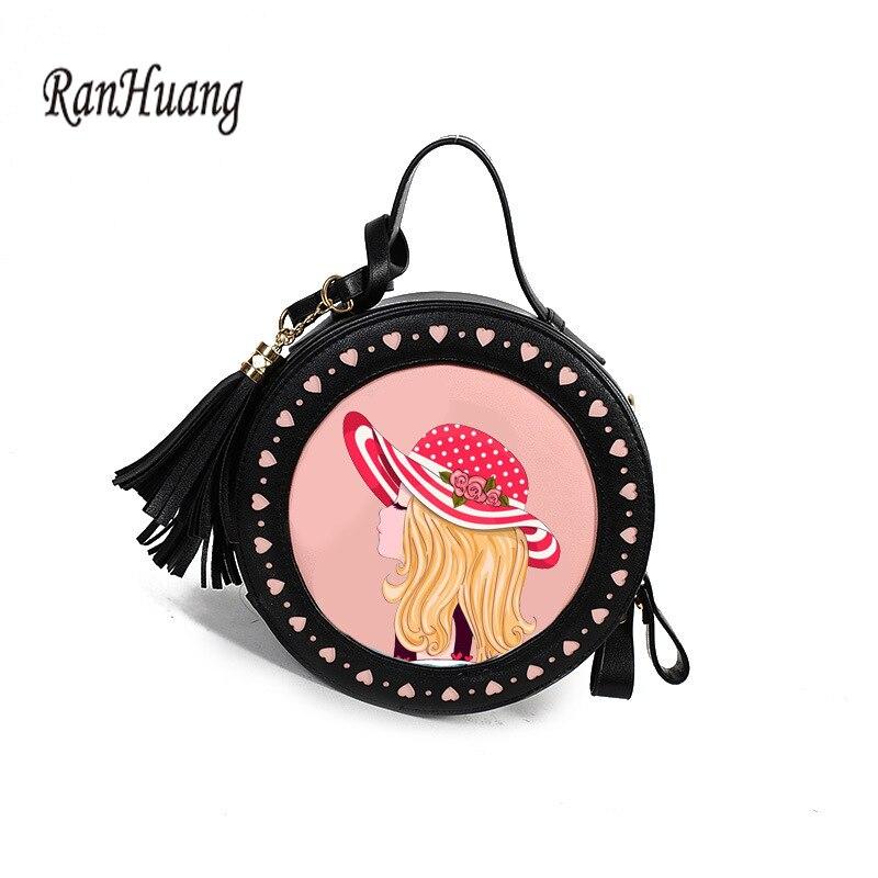 RanHuang Новый 2018 Для женщин небольшие сумки на ремне с принтом для девочек круглый сумки дамы PU кожа Crossbody сумки с милыми кисточками сумки на пл...