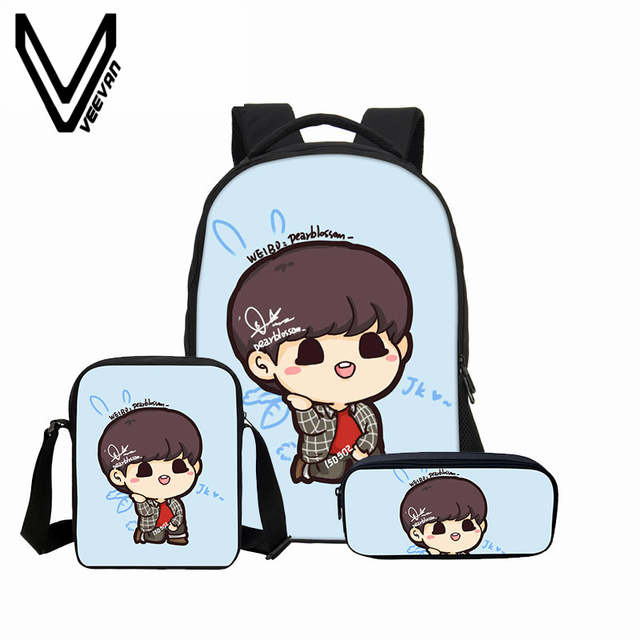 VEEVANV 2018 Bag 9 Colors bts Anime Printing 3D Portfolio Case Cover  Childrens School Book Backpack For Teenage Girls Cavas Kid