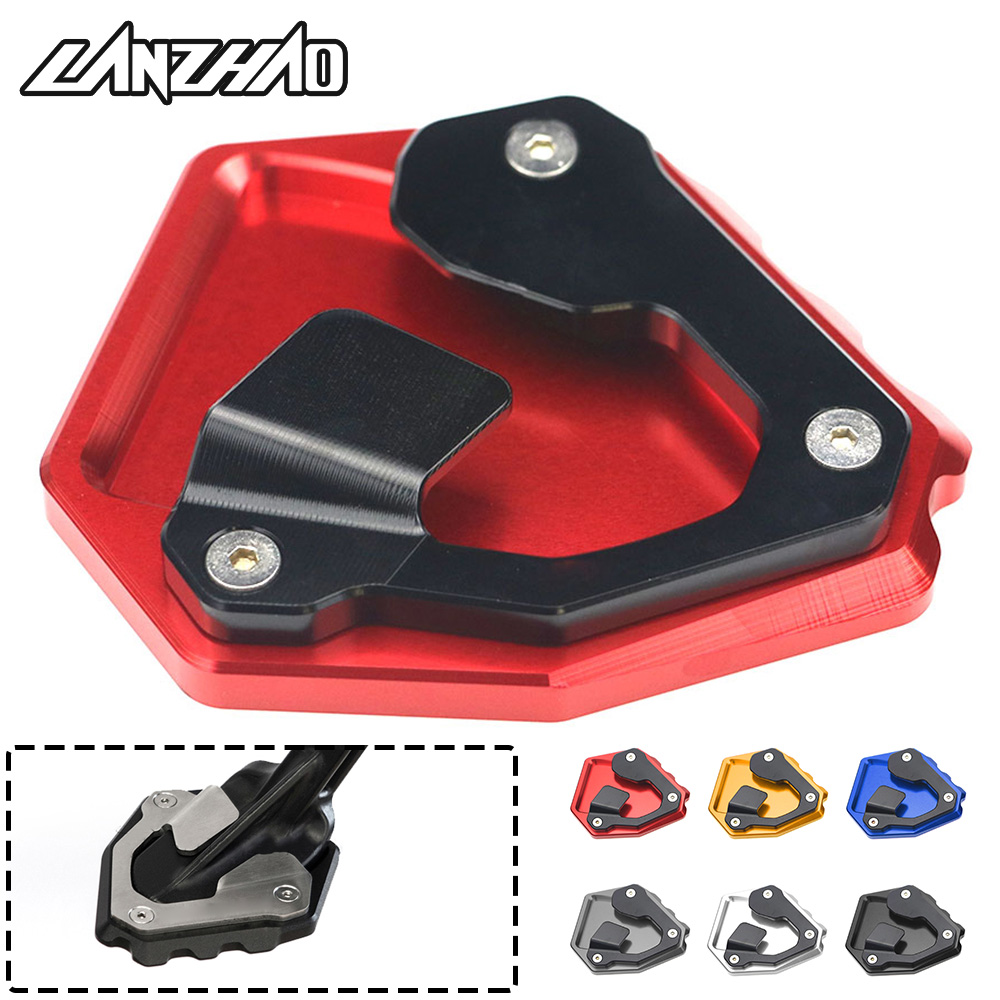 For Honda CRF1000L Africa Twin 2016 2017 2018 Motorcycle Side Stand Enlarger Kick Stand Extension Plate Enlarge Pad Red Black motorcycle side stand enlarger cnc kickstand side stand extension enlarger pate pad for bmw f800gs
