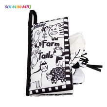 New Baby Early Education Toys Black and White Puzzle Tail Cloth book Enhanced Visual Parent-child Interactive Toy Cloth Book