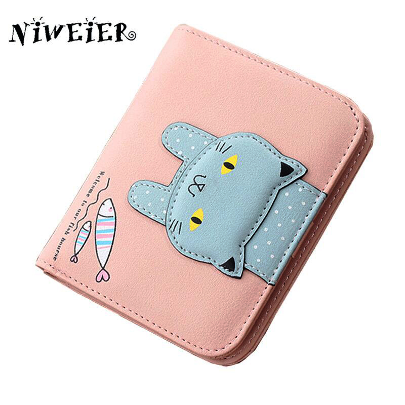 top pu two fold short 4colors cute cat teenage girls wallet kid's purse button clutch female purses card holder money bags