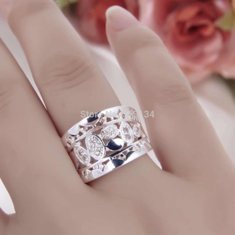 Atacado 1PC Cristal Natural Anel de Prata Esterlina Multi Coração Anel Women & Men Silver Gift Jóias Anéis de Dedo