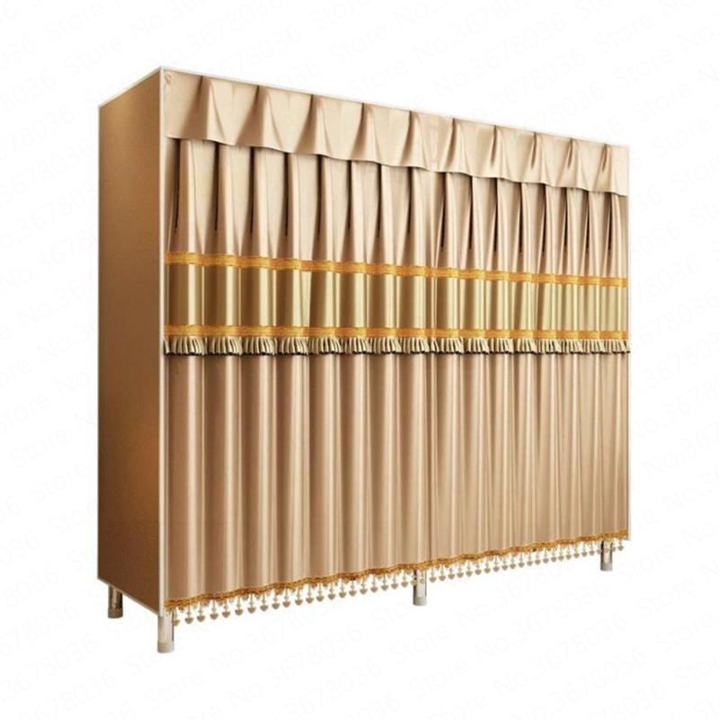Wardrobe Simple Cloth Wardrobe Steel Pipe Thickening Reinforcement Steel Frame Oxford Cloth Double Fabric Hanging Storage(China)