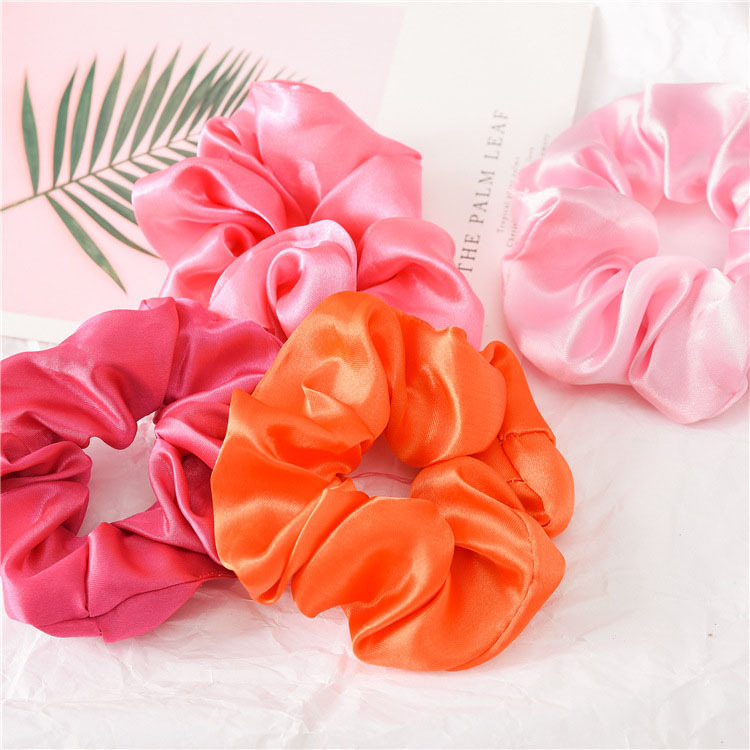 (46 Pieces/set) Women's Satin Scrunchies Solid Color Elastic Hair Bands Hair Accessories