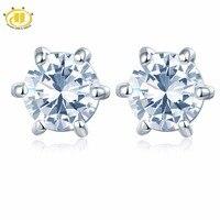 Hutang Similaire Diamant Blanc Topaze Ronde 5mm Boucles D'oreilles en 925 En Argent Sterling De Mariage Fine Jewelry Six Prong Set Livraison nouveau