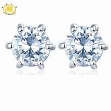 Hutang Similar Diamond White Topaz Round 5mm Stud Earrings in 925 Sterling Silver Wedding Fine Jewelry Six Prong Set Free New