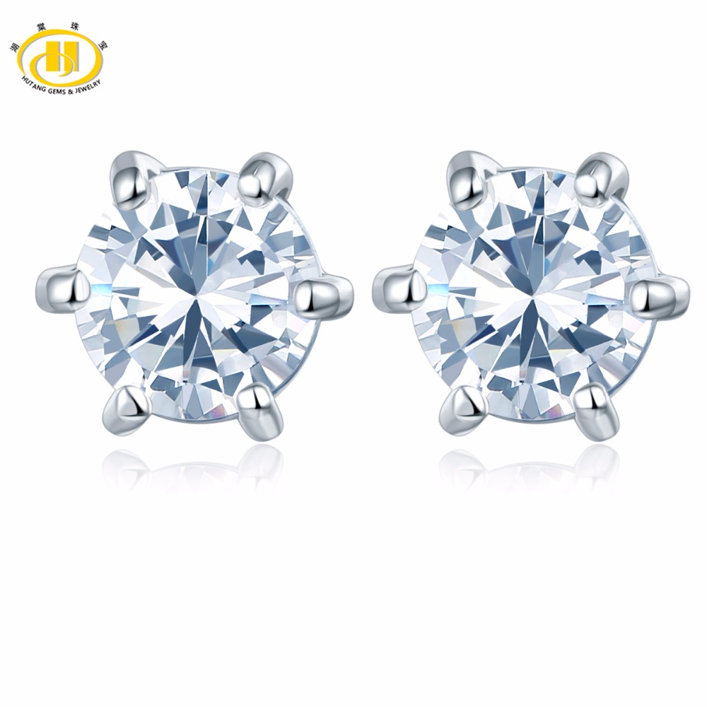 Hutang Similar Diamond White Topaz Round 5mm Stud Earrings in 925 Sterling Silver Wedding Fine Jewelry Six Prong Set Free New ...
