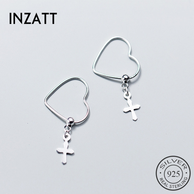 INZATT Real 925 Sterling Silver Cute hollow Heart Hoop Earrings Cross Beads Star Earring Female 2018  Fine Jewelry OorbellenINZATT Real 925 Sterling Silver Cute hollow Heart Hoop Earrings Cross Beads Star Earring Female 2018  Fine Jewelry Oorbellen
