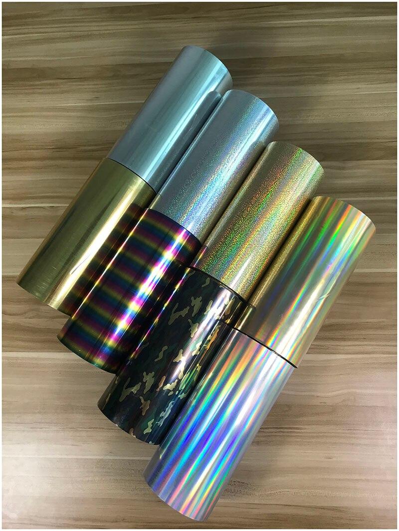 Livraison gratuite 1 rouleau 25 cm x 25 m hologramme transfert de chaleur vinyle Camouflage arc-en-ciel métallique et Laser fer sur Film HTV T-shirt