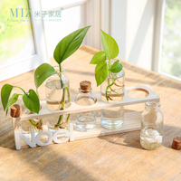 Miz Home Wooden Decor 5 Glass Vase Set For Office Desktop Decor For Home Mini Pot