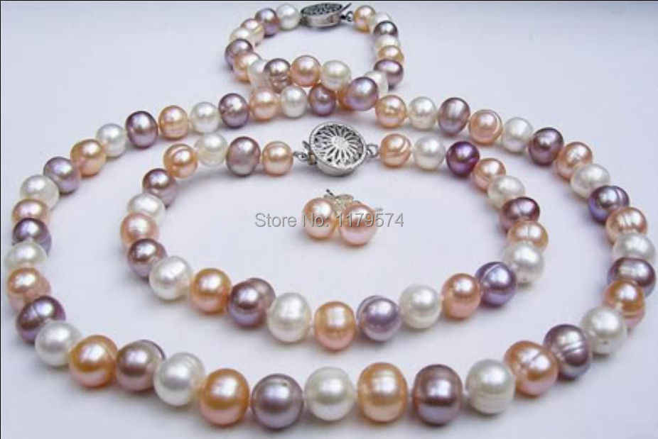 Menarik Baru Alami 7-8 Mm Campuran Warna Mutiara Shell Kalung Gelang Anting-Anting Set Perhiasan Set Fashion Perhiasan membuat Hadiah