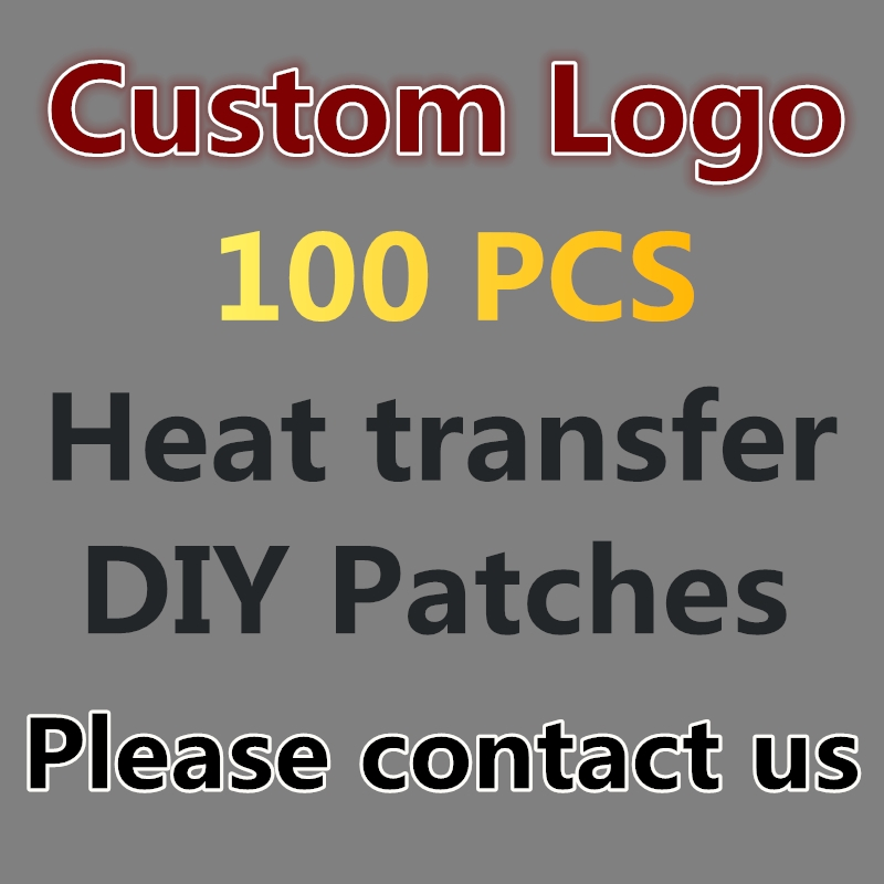 Custom Made LOGO 100 PCS / LOT Heat Transfer Iron-on Stamp Clothing Decoration Patch Decals Parches Patches Stickers T-Shirt