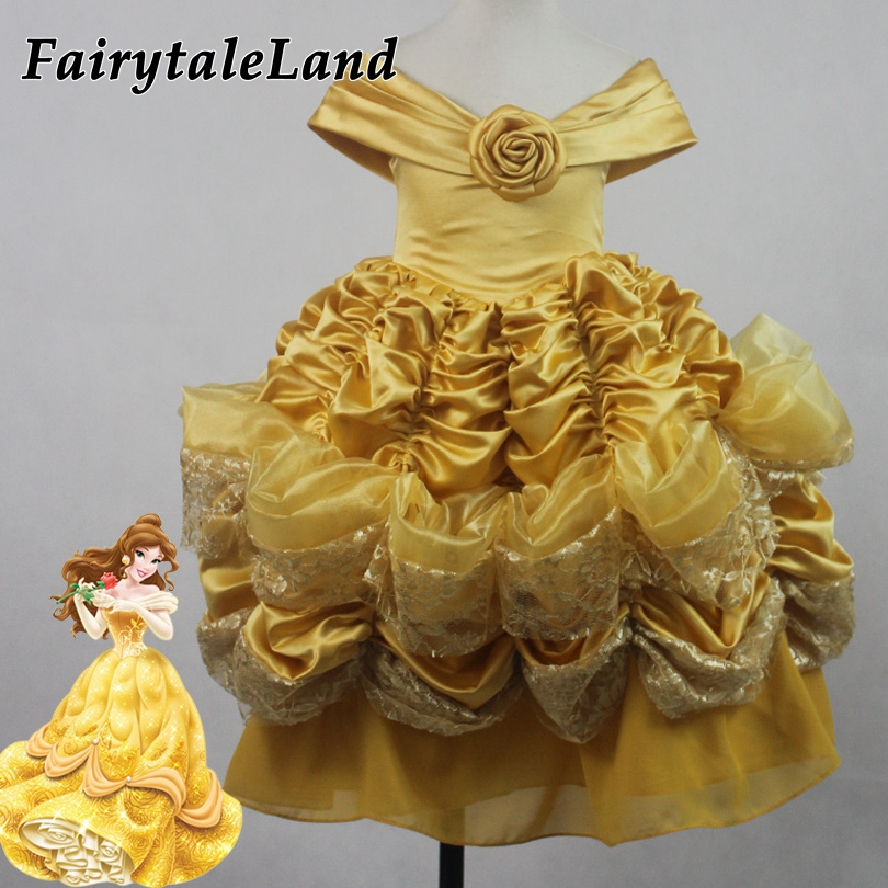 girls Belle dress Halloween costumes for kids Beauty and the Beast Belle cosplay costume Yellow Belle girls Fancy dresses