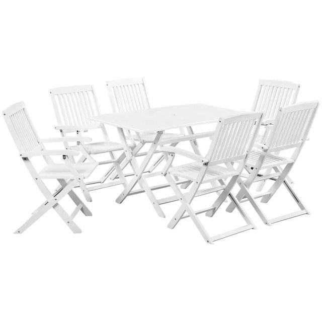 VidaXL Seven Piece Outdoor Dining Set Solid Acacia Wood White