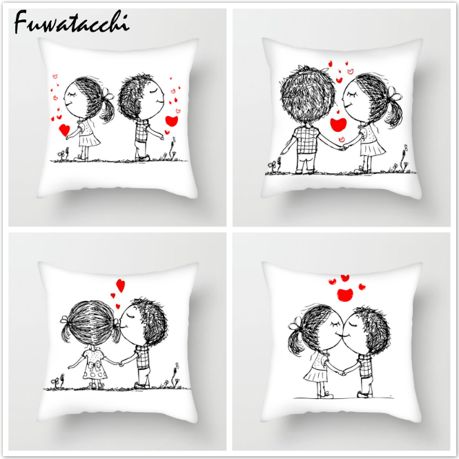 Fuwatacchi Cartoon Couple Throw Pillows Cushion Cover for