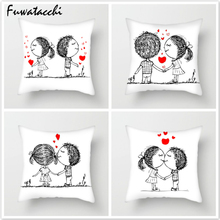 Fuwatacchi Cartoon Couple Throw Pillows Cushion Cover for Sofa Animal Printed Pillow Chair Decorative Pillowcase