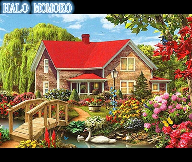tuinhuis daimond schilderij, 5d diy mozaïek landschap, diamant - Kunsten, ambachten en naaien