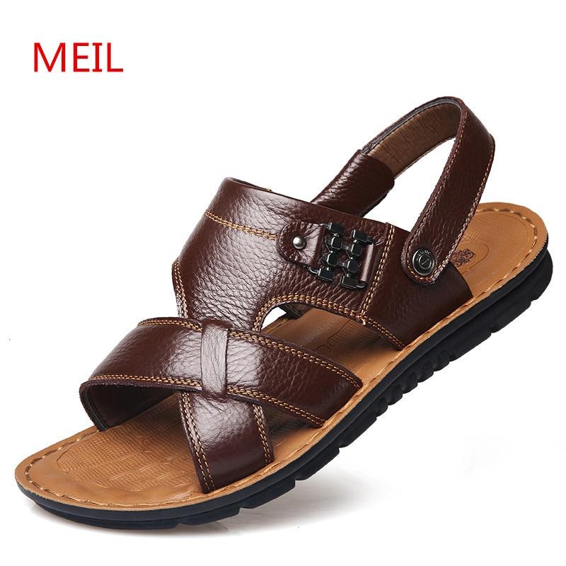 Men Cow Leather sandals 2018  beach Sandals Black Brown Hand Sewing - Men's Shoes