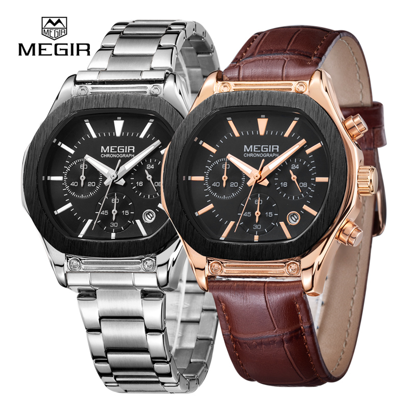 MEGIR Auto Date Mens Watches Military Army Sports Casual Waterproof Men Watch Quartz Stainless Steel Leather Man Wristwatch 3014 hot sale brand military watch date display mens watches full steel watches men s sports army quartz watch free shipping 029b