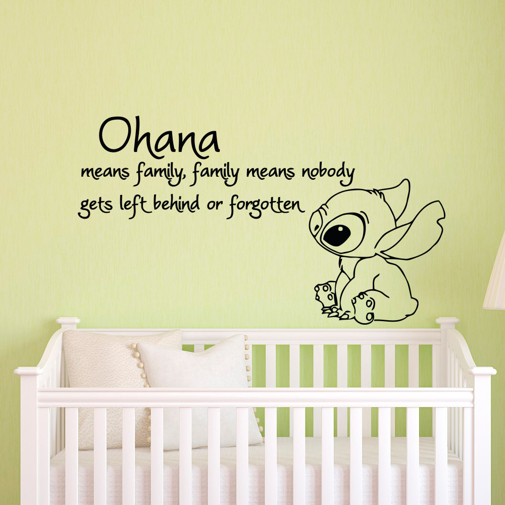 Ohana Means Family Means Nobody Get Left Behind or Forgotten Lilo and Stitch Wall Stickers Vinyl Baby Nursery Wall Decals JW045(China)