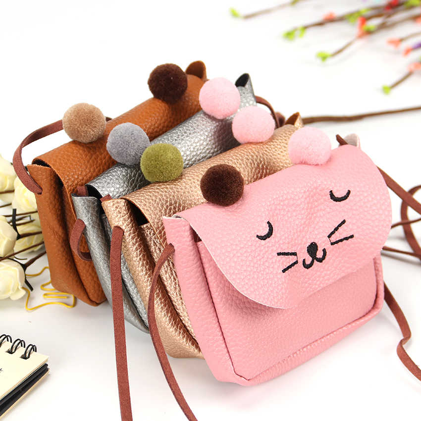 0a714b6e8f6 ... Little Girl Mini Cute Cat Ear Shoulder Bag Kids All Match Key Coin  Purse Cartoon Lovely