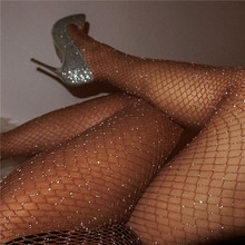 Women Sexy Fishnet Stockings Diamond Pantyhose  Fashion Shiny Net Tights Female Slim Rhinestone Mesh Nylon