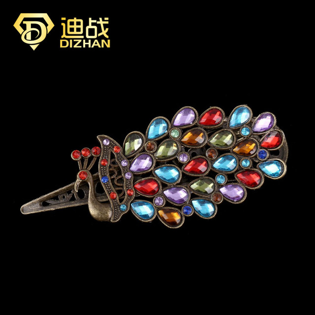 Bohemia Vintage Colorful Peacock Hairpins Multicolour Crystal Peacock Hair Clip Hairpin Retro Hair Jewelry for women Bijoux
