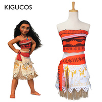 KIGUCOS Princess Moana Cosplay Costume for Adult and Children Costume with Necklace for Women Halloween Costumes Party Outfit