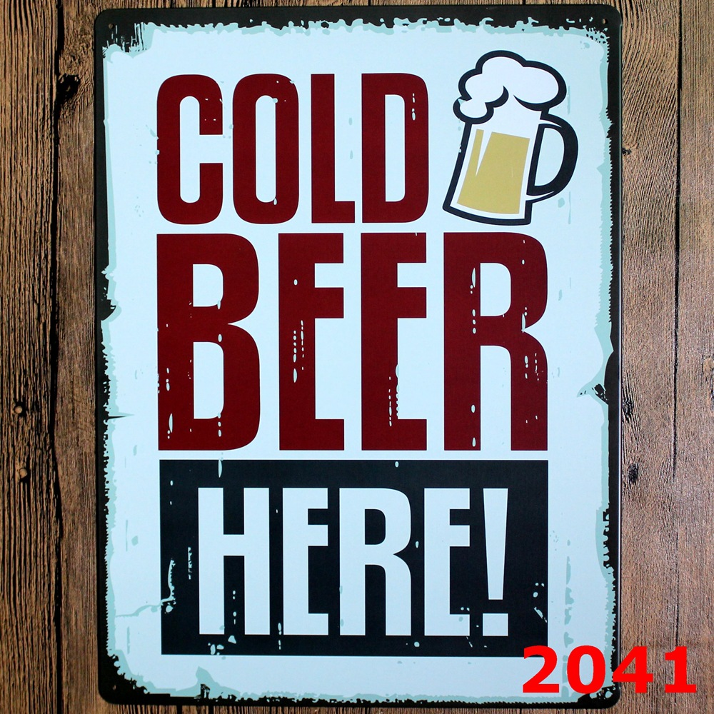 Cold Beer Design Wall Sticker Large Metal Painting Tin Signs 30x40cm Club Decor In Stickers From Home Garden On