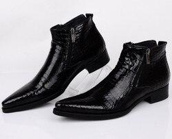 حجم كبير EUR46 اعوج الأزرق/الأسود أشار إلى اللباس أحذية رجالي الكاحل أحذية جلد طبيعي الأحذية الذكور أحذية الزفاف