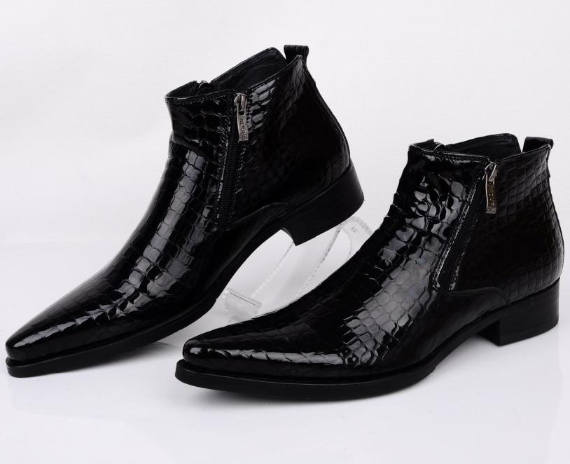 10079 Talla Grande Eur46 Serpentina Azulnegro Apuntado A Los Zapatos De Vestir Botas De Tobillo Para Hombre Botas De Cuero Genuino Zapatos De