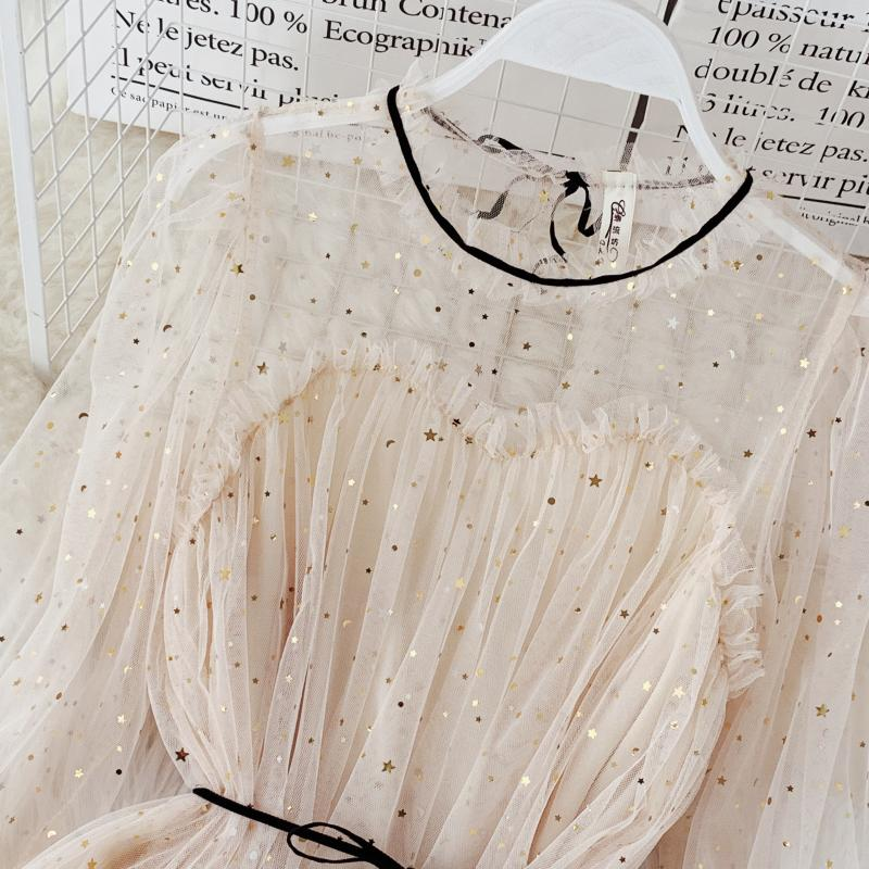HISUMA spring autumn new women Star sequins gauze flare sleeve lace-up Princess dress female elegant o-neck mesh puff dresses 15