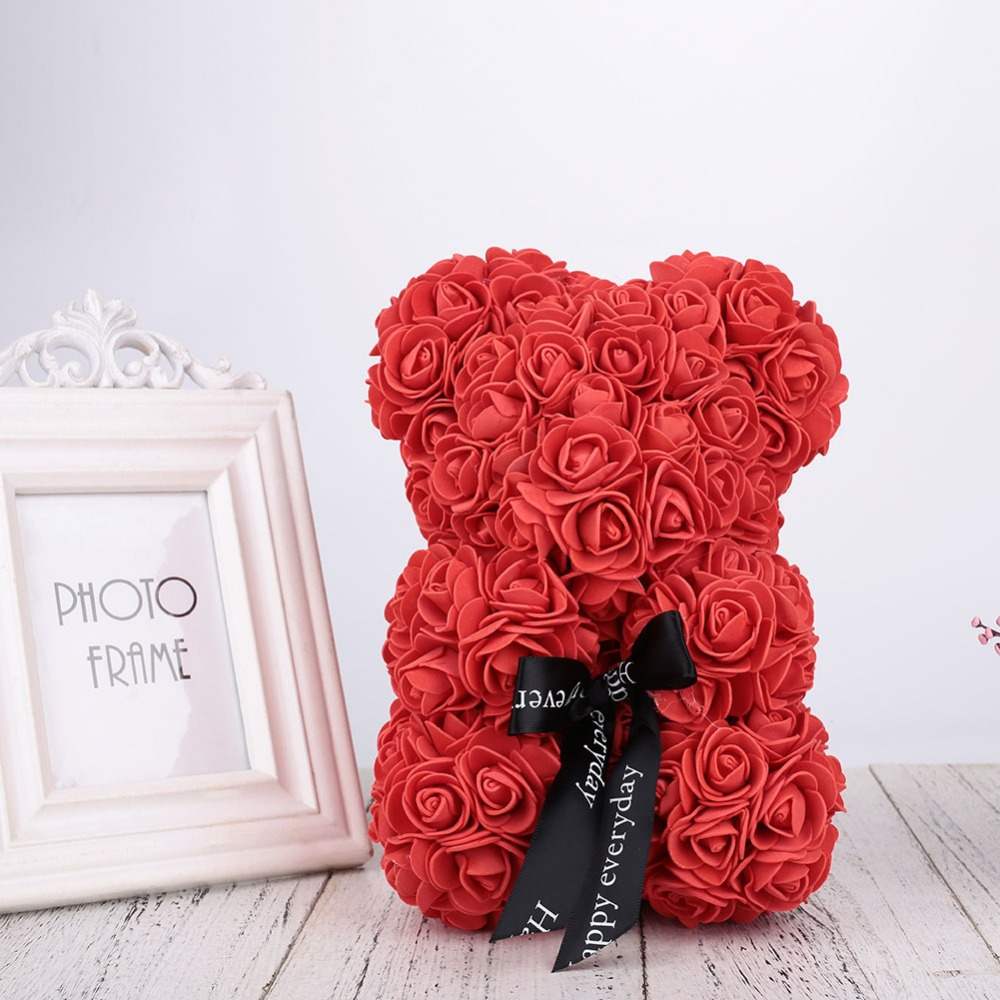 Valentines Gift Amazing bear PE High quality Rose Bear Anniversary gift for Women Wife Eternal Rose Flower DIY Gift 2018-2019