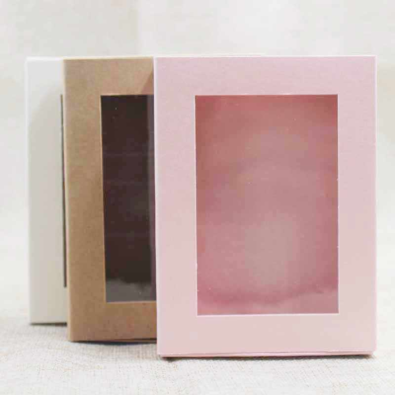 20pcs kraft/beige/pink best- selling gift package& display window box DIY slide box for wedding favors/products display show