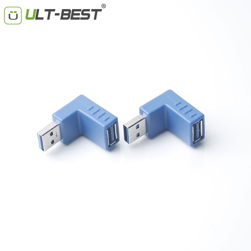 ULT-Best Super Speed USB 3.0 A Male to Female M/F Adapter Right Angle 90 Degree Connector Blue Converter