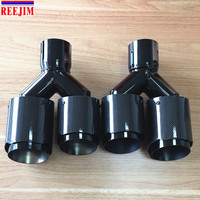 1 Piece In 2.5 Out 3.5Car styling E60 E90 black brushed Akrapovic car carbon fiber Exhaust Tip exhaust pipe muffler tip