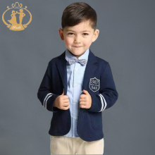Nimble Boys Outwear Navy Blue Gray Two Button Children Casual Blazer School Boys Formal Suit Jackets Kids Coat