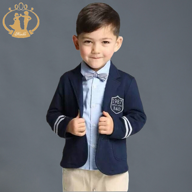 Nimble Jacket For Boy Navy Blue Gray Two Button Children Casual Blazer School Boys Formal Suit ...