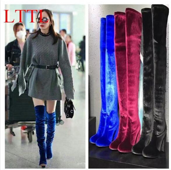 LTTL 2018 Fashion Woman Velvet Thigh High Boots Block Heel Over-the-knee Botas Mujer Boots Women Kim Kardashian Rihanna