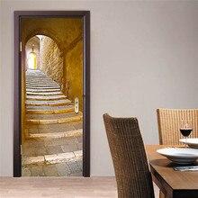 77*200 cm 2 unids retro escaleras de piedra/gabinete del libro de etiqueta de la pared casero mural de la decoración del cartel de vinilo a prueba de agua imitación 3D pegatina puerta