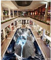 3D Valley Клифф водопад Море Дельфин для ванной дорожки 3D пол 3d ПВХ обои 3d полы