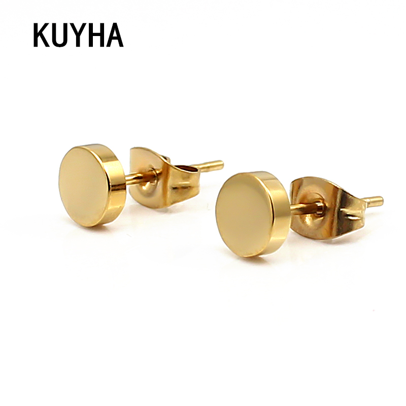 Metal Stud Earrings Rose Gold/Gold/Silver Thick Small Grils Boys Earring Circle Round Classic Earrings for Women Man Jewelry earrings