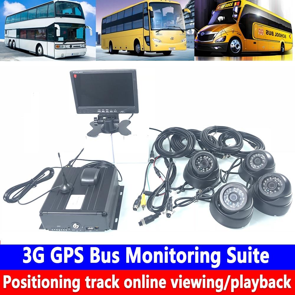Otomobiller ve Motosikletler'ten Araba Çok açılı Kamera'de Sabit disk 4 yollu panoramik HD izleme SD kart döngü kayıt 3G GPS veri yolu izleme kiti muck kamyon/taşıma /römork title=