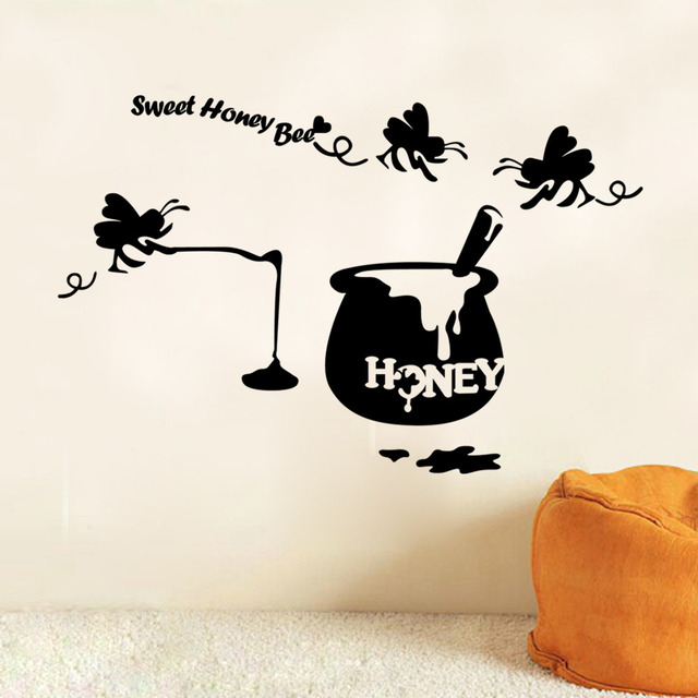 Sweet Honey Bee Wall Decals Home Decor Sticker Living Room Kitchen Wallpaper For Walls