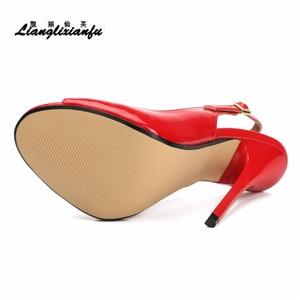Image 4 - LLXF zapatos mujer 13 cm dünne heels Stiletto Pumps schuhe frau kleid Pantent Leder Sandalen Peep Toe Cosplay pumpen US16 17