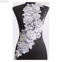 New White/Silver Flower Embroidery Lace Appliques Collar Neckline Dance Dress Costume DECOR Garment Wedding Accessories PBNC118V(China)