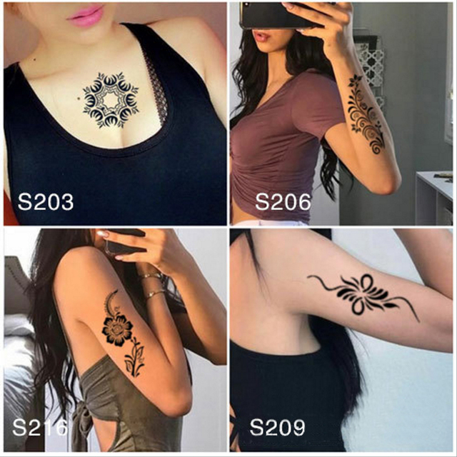 4pcs lot big temporary tattoo stencil henna reuseable girls flowers