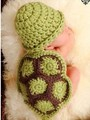 1set Siamese Ninja Green cartoon Handmade Knitted Newborn New Born Infant Child Knitting Clothing Clothes Baby Set Warmer